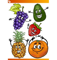 funny fruits cartoon set vector image