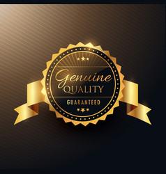 Genuine quality award golden label badge design vector
