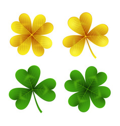 gold and green clover leaves isolated on white vector image