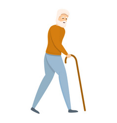 Grandfather with walking stick icon cartoon style vector