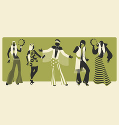 Group five wearing hippie clothes 60s vector