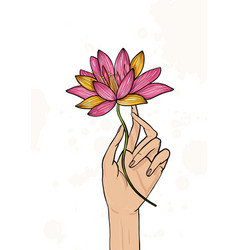 Hand holding lotus flower colorful hand drawn vector
