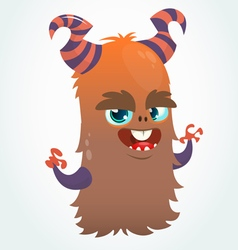 Happy cartoon orange and fluffy horned monster vector image