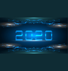 happy new 2020 year futuristic glowing frame vector image