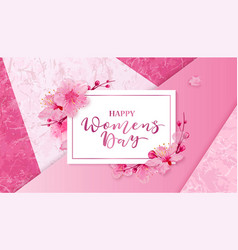Happy women s day 8 march with flowers vector
