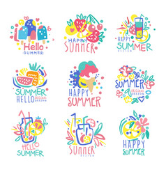 Hello summer logo template original design set vector