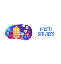 Hostel services concept banner header vector