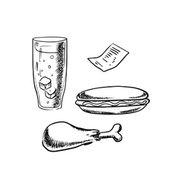 Hot dog chicken leg soda glass and bill vector