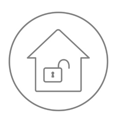 House with open lock line icon vector image vector image