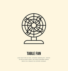 household supply line logo flat sign of table fan vector image