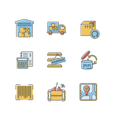 Inventory management rgb color icons set storage vector