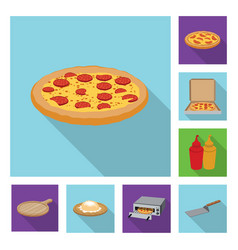 isolated object of pizza and food logo set of vector image
