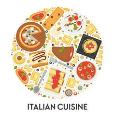 Italian cuisine menu pizza and pasta food vector