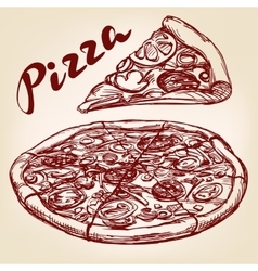 Italian pizza set hand drawn llustration vector image