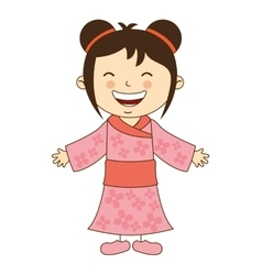 Japanese girl character icon vector