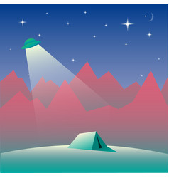 Landscape with ufo tent and mountains at night vector