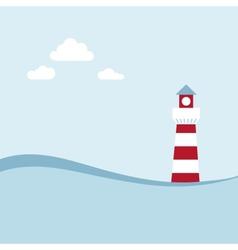 Lighthouse on the sea fairy shore vector