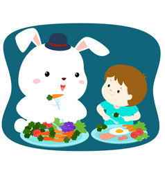 Little cute boy eating vegetable with white rabbit vector