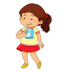Little girl drinking milk vector