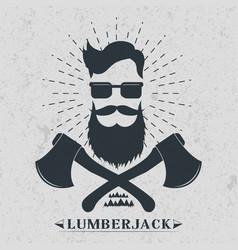 Lumberjack label logo t-shirt design vector