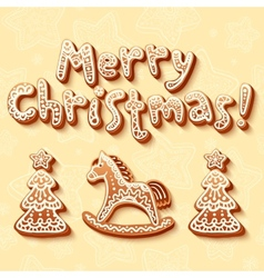 Merry Christmas gingerbread sign horse and trees vector image