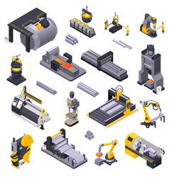 Metal industry isometric set vector