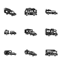 Mobile motorhome icon set simple style vector