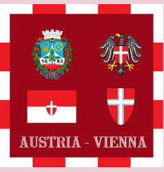 national ensigns of vienna - austria vector image