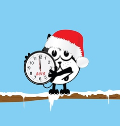 new year clock with cat color vector image