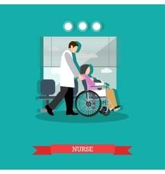 Nurse carrying patient in vector