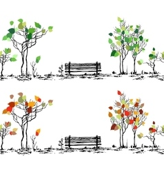 Park sketch Bench and trees in different seasons vector