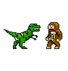 pixel art 8 bit objects characters dinosaur vector image