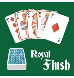 Poker hand royal flush vector