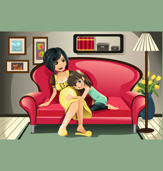 pregnant mother with her daughter vector image