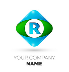 Realistic letter r logo in colorful rhombus vector