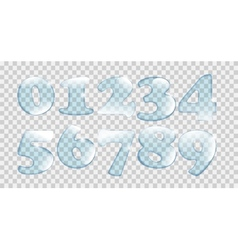 Realistic Water Drops Number Set On Transparent vector image