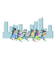 running people in city world vector image