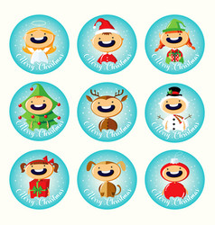 set christmas cartoon stickers with cute child vector image