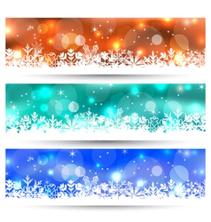 Set Christmas glowing cards with snowflakes - vector
