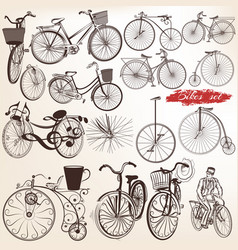 Set engraved bicycles for design vector