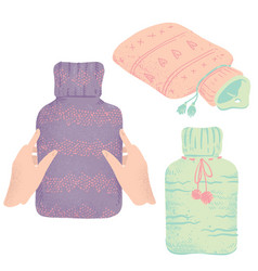 Set rubber hot water bottles in knitted covers vector