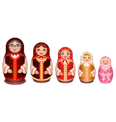 Set russian wooden nesting doll traditional retro vector