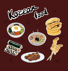 Set traditional korean dishes stickers vector