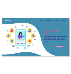 share your story landing page template vector image