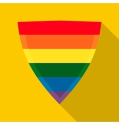 Shield in rainbow colors icon flat style vector