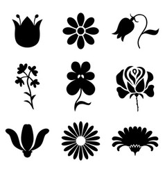 silhouette stylized flowers set vector image