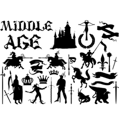 silhouettes and icons on the medieval theme vector image