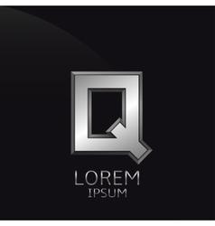 Silver Q Letter emblem vector