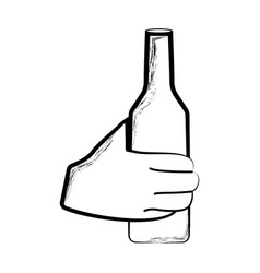 sketch of a hand holding a bottle vector image