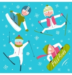 ski snowboard snowflakes winter sport funny vector image